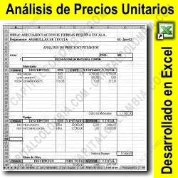 Ampliar foto de Análisis de precios unitarios - Plantilla en formato Excel