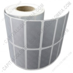 Ampliar foto de Rollo de etiquetas metalizadas de 10.000 rótulos autoadhesivos a dos columnas (4.0cms x 1.7cms)