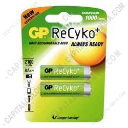 Ampliar foto de Pila Recargable AA marca GP Recyko 2000 mAh - Paquete de dos (2) baterías