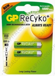 Ampliar foto de Pila Recargable AAA marca GP Recyko 800 mAh - Paquete de dos (2) baterías