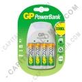 Cargador de Pilas GP PowerBank de baterías AA, AAA y 9V (cuadrada) con cuatro (4) pilas AA de 2500 mAh