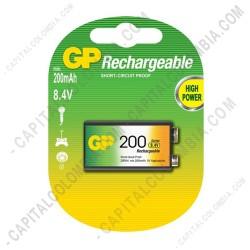 Ampliar foto de Pila Cuadrada Recargable 8.4V marca GP 200 mAh - Paquete de una (1) batería