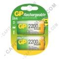 Pila Recargable D 1.2V marca GP 2200 mAh - Paquete de dos (2) baterías