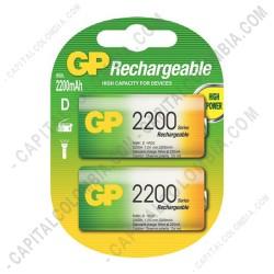 Ampliar foto de Pila Recargable D 1.2V marca GP 2200 mAh - Paquete de dos (2) baterías