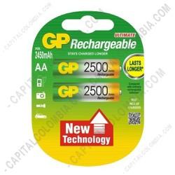 Ampliar foto de Pila Recargable AA 1.2V marca GP 2500 mAh - Paquete de dos (2) baterías