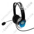 Ampliar foto de Audífonos con microfono tipo diadema punta USB color negro con azul