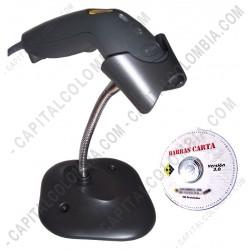 Ampliar foto de Combo Lector de Código de Barras Zebra LS1203 USB + Software BarrasCarta (con base)