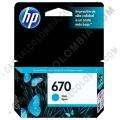 Ampliar foto de Cartucho de Tinta Hp Cyan 670 para Hp Deskjet Ink Advantage 3525/4615/4625/5525 para 300 Páginas (Ref. CZ114AL)