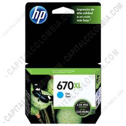 Ampliar foto de Cartucho de Tinta Hp Cyan 670xl para Hp Deskjet Ink Advantage 3525/4615/4625/5525 para 750 Páginas Aprox. (Ref. CZ118AL)