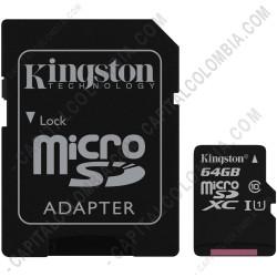 Ampliar foto de Memoria de 64GB microSDHC Kingston Class 10 UHS-I, Velocidad de 45MB/s Lectura y 10MB/s Escritura con Adaptador SD (Ref. SDC10G2/64GB)