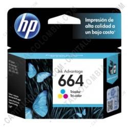 Ampliar foto de Cartucho HP 664 Tricolor para Hp Deskjet Ink Advantage 1115/2135/3635/3835/4675 para 100 Páginas Aprox (Ref. F6V28AL)