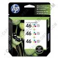 Cartucho de Tinta HP 46 Tricolor x 3 Unidades para Impresora Deskjet Ultra Ink Advantage 2529/4729 para 750 Páginas por cada cartucho Aprox. (Ref. M0H60AL)