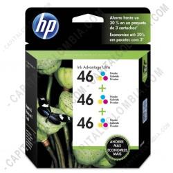 Ampliar foto de Cartucho de Tinta HP 46 Tricolor x 3 Unidades para Impresora Deskjet Ultra Ink Advantage 2529/4729 para 750 Páginas por cada cartucho Aprox. (Ref. M0H60AL)