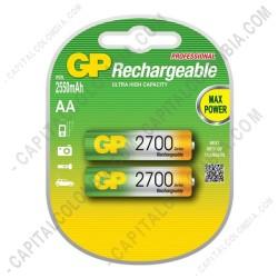 Ampliar foto de Pila Recargable AA 1.2V marca GP 2700 mAh - Paquete de dos (2) baterías