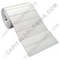 Rollos de etiquetas adhesivas y Nylon Textil, Marca: CapitalColombia - Rollo de etiquetas transparentes de 2.500 etiquetas a dos columnas (5.3cms x 2.8cms) con marca negra