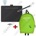 Ampliar foto de Combo Tabla Digitalizadora Wacom Intuos S Bluetooth inalámbrica - Lápiz 4K - CTL6100WLK0 y Morral Verde