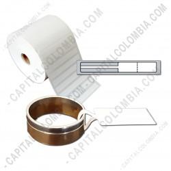 Ampliar foto de Rollo de etiquetas para joyería en polipropileno blanco de 5.000 etiquetas a una columna (9cms x 1.1cms)