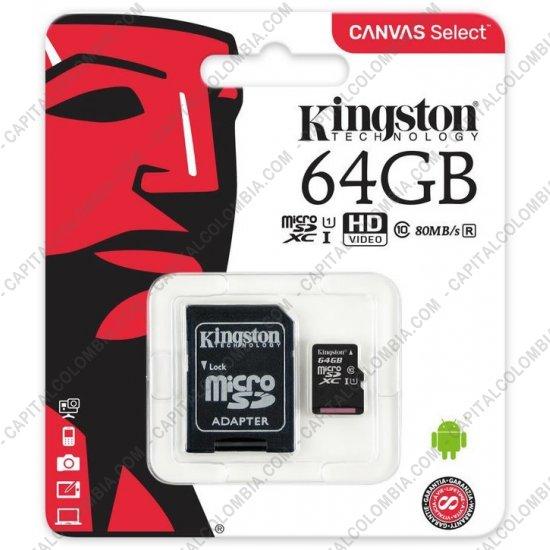 Discos duros externos, de estado sólido, Memorias USB, Kingston, Marca: Kingston - Tarjeta Micro SD Class 10 Canvas Select de 64GB - SDCS/64GB