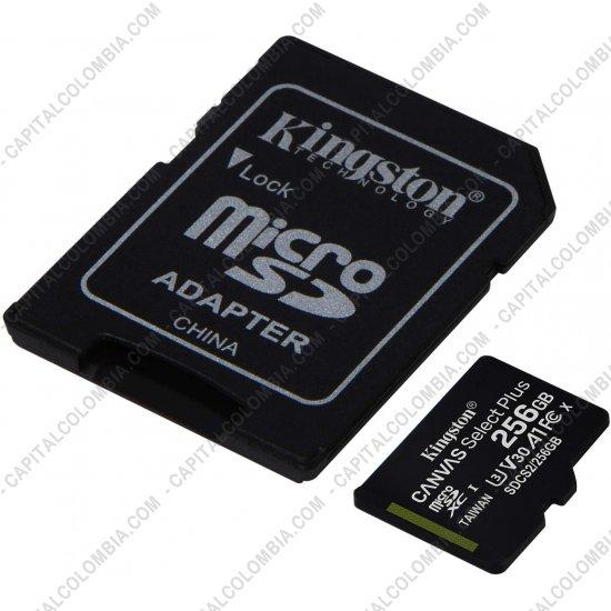 Discos duros externos, de estado sólido, Memorias USB, Kingston, Marca: Kingston - Memoria Micro SD Kingston 256Gb MicroSDXC Canvas Select Plus 100R A1 C10 Card + Adaptador