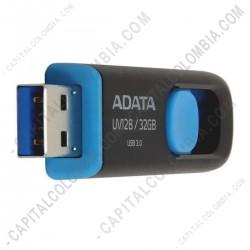 Ampliar foto de Memoria USB ADATA de 32GB Retractil Negra con Azul - Ref. AUV128-32G-RBE